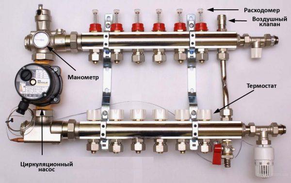 Схема-коллектора-для-теплого-водяного-пола-600x377